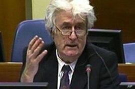 This frame grab from the ICTY courtroom television shows Bosnian Serb wartime leader Radovan Karadzic talking during his trial for genocide, in the Hague, 13 Apr 2010
