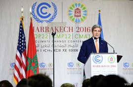 U.S. Secretary of State John Kerry delivers remarks at the 22nd UN Framework Convention on Climate Change Conference of Parties (COP22) in Marrakech, Morocco, Nov. 16, 2016.