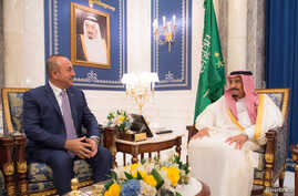 Saudi Arabia's King Salman bin Abdulaziz Al Saud (R) meets with Turkish Foreign Minister Mevlut Cavusoglu in Jeddah, Saudi Arabia, June 16, 2017.
