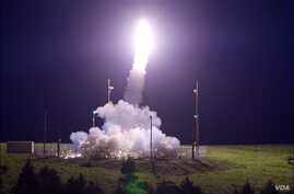A Terminal High Altitude Area Defense (THAAD) interceptor is launched from the Pacific Spaceport Complex Alaska in Kodiak, Alaska, during Flight Test THAAD (FTT)-18, July 11, 2017.