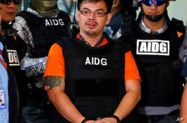 Alleged Filipino drug lord Kerwin Espinosa is presented to the media after arriving from Abu Dhabi, Nov. 18, 2016 at Camp Crame in suburban Quezon City, Philippines.