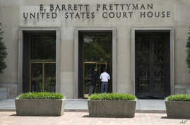 FILE - A view of the E. Barrett Prettyman U.S. Courthouse that houses the U.S. Court of Appeals for the D.C. Circuit in Washington.