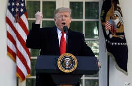 President Donald Trump speaks in the Rose Garden of the White House, Jan 25, 2019, in Washington.