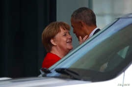 Former U. S. President Barack Obama leaves after a meeting with German Chancellor Angela Merkel at the chancellery in Berlin, Germany, April 5, 2019.