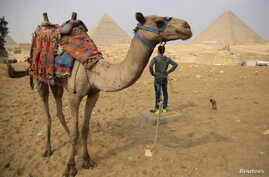 A camel and his handler wait for tourists at the Giza Pyramids near Cairo, Nov. 8, 2015. Egypt's Tourism Minister Hesham Zaazou said the government was doing all it could to secure airports and tourist sites.