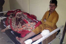 Afghan children are being treated at Paktika hospital after suicide attack  at a volleyball match in Yahya Khel, Paktika province Nov. 23, 2014.