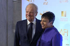 American Film Institute founder George Stevens (L) and Librarian of Congress Carla Hayden are seen at an event marking 50 years of partnership in film preservation between the two institutions.