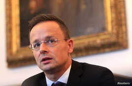 Hungarian Foreign Minister Peter Szijjarto attends an interview with Reuters in Budapest, Hungary, Sept. 12, 2017.