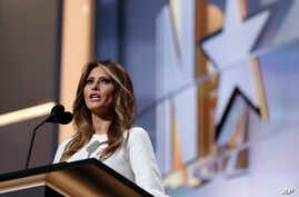 Melania Trump, wife of Republican Presidential Candidate Donald Trump, speaks during first day of the Republican National Convention in Cleveland, July 18, 2016.