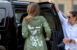 First lady Melania Trump arrives at Andrews Air Force Base, Md., June 21, 2018, after visiting the Upbring New Hope Children Center in McAllen, Texas. The first lady's team insisted that there was no hidden meaning behind the wording on the back of h...