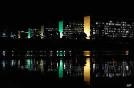 A general view of the Esplanada dos Ministerios, decorated with green and yellow ligh, the national colors of Brazil, in honor of FIFA World Cup, in Brasilia, Brazil, June 2, 2014.