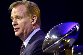 NFL Commissioner Roger Goodell speaks to the media during a news conference in San Francisco, Feb. 5, 2016.