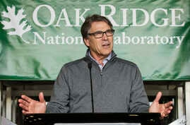 U.S. Energy Secretary Rick Perry speaks at Oak Ridge National Laboratory's Manufacturing Demonstration Facility in Knoxville, Tenn., May 22, 2017.