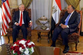 U.S. Secretary of State Rex Tillerson, left, meets Egyptian Foreign Minister Sameh Shoukry, in Cairo, Egypt, Feb. 12, 2018.
