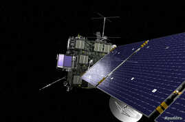 FILE - Rosetta, the European Space Agency's cometary probe with NASA contributions, is seen in an undated artist's rendering.