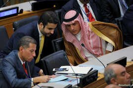 Saudi Foreign Minister Adel al-Jubeir attends a high-level meeting to discuss the current situation in Libya during the 72nd U.N. General Assembly at U.N. headquarters in New York, Sept. 20, 2017.