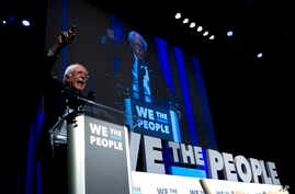 Independent presidential candidate Sen. Bernie Sanders, I-Vt., speaks during the We the People Membership Summit, featuring the 2020 Democratic presidential candidates, at the Warner Theater in Washington, April 1, 2019.
