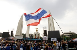 A protester waves a Thai national flag during a rally against an amnesty bill at the Democracy monument in central Bangkok, Nov. 12, 2013.