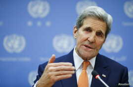 U.S. Secretary of State John Kerry speaks to the media during a news conference at the United Nations Headquarters in Manhattan, New York, Dec. 18, 2015.