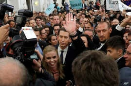 Foreign Minister Sebastian Kurz, head of Austrian People's Party, arrives to the election party in Vienna, Austria, Oct. 15, 2017, after the closing of the polling stations for the Austrian national elections.