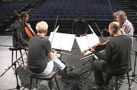 The Kronos Quartet rehearses 'Threnody for Those Who Remain' by Iranian composer Sahba Aminikia