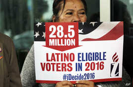 FILE - Georgina Arcienegas holds a sign in support of Latino voters in Florida, Jan. 12, 2016. The Clinton campaign has sharpened its focus on one of the most reliable strongholds it has in New York thus far — the Latino vote.