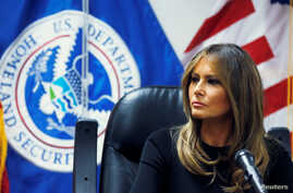 U.S. first lady Melania Trump listens to federal immigration and law enforcement officials during a roundtable discussion as she visits a U.S. Customs and Border Patrol facility in Tucson, Arizona, June 28, 2018.