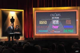 From left, Chris Hemsworth and President of the Academy Cheryl Boone Isaacs announce the Academy Awards nominations for Best Picture at the 86th Academy Awards nomination ceremony, Jan. 16, 2013 in Beverly Hills, Calif.