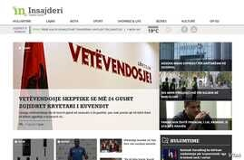 Part of the news website Insajderi's home page.