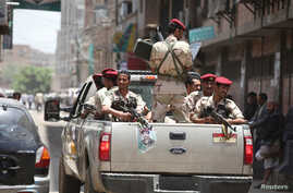 Soldiers patrol the vicinity of Yemen's parliament during its first session since a civil war began almost two years ago, in Sanaa, Yemen August 13, 2016.