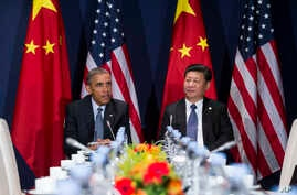President Barack Obama (L) meets with Chinese President Xi Jinping during their meeting on the sidelines of the COP21, United Nations Climate Change Conference, in Le Bourget, outside Paris, Nov. 30, 2015.