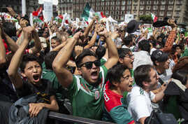 Fans celebrate Mexico's win during the Mexico vs. Germany World Cup football match, as they watched it on an outdoor screen in Mexico City, Mexico, June 17, 2018.