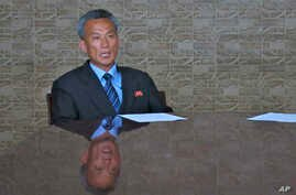 Paek Chang Ho, Vice Director of the Scientific Research and Development Department of North Korea's National Aerospace Development Administration, talks during an interview in Pyongyang, North Korea, May 28, 2015.