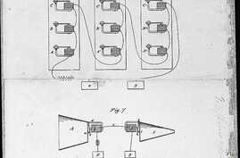Partial view of Alexander Graham Bell's telephone patent drawing from March 7, 1876