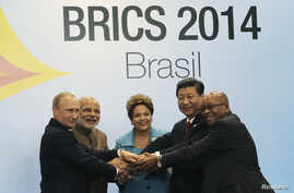 Leaders of the five BRICS nations – from left, Russia's Vl