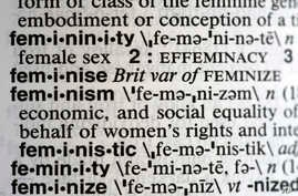 """A Dec. 11, 2017, photo taken in New York shows the word feminism listed in the dictionary. Merriam-Webster has revealed """"feminism"""" as its word of the year for 2017 on Dec. 12"""