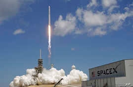 A Falcon 9 SpaceX rocket launches from pad 39A at the Kennedy Space Center in Cape Canaveral, Fla., Aug. 14, 2017. The mission of the spacecraft is a cargo and supply delivery to the International Space Station.