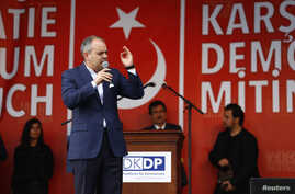 Turkish Sportminister Akif Cagatay Kilic attends a protest for Turkish President Tayyip Erdogan in a pro-government protest in Cologne, Germany, July 31, 2016.