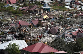 An aerial view of the destruction caused by an earthquake and liquefaction in the Petabo neighbourhood in Palu, Central Sulawesi, Indonesia, Oct. 7, 2018.