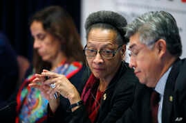 Margarette May Macaulay, center, president of the Inter-American Commission on Human Rights, confers with fellow commissioner Joel Hernandez Garcia, front, as commissioner Antonia Urrejoia, back, listens during a hearing Oct. 5, 2018, at the Universi