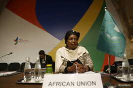 Nkosazana Dlamini-Zuma, chairperson of the African Union Commission, attends the Valletta Summit on Migration in Valletta, Malta, Nov. 12, 2015.