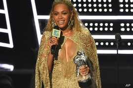 "Beyonce accepts the award for best female video for ""Hold Up"" at the MTV Video Music Awards at Madison Square Garden on Aug. 28, 2016, in New York."