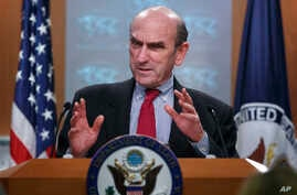 Special Representative for Venezuela Elliott Abrams speaks at the State Department in Washington, March 15, 2019.