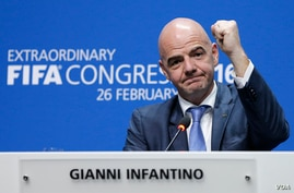 Newly elected FIFA president Gianni Infantino of Switzerland during a press conference after the second election round during the extraordinary FIFA congress in Zurich, Switzerland,  Feb. 26, 2016.