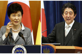 South Korea President Park Geun-hye, left, and Japan Prime Minister Shinzo Abe will attend a summit in South Korea with Chinese Premier Li Keqiang later this month, the first such meeting since they were discontinued in 2012.