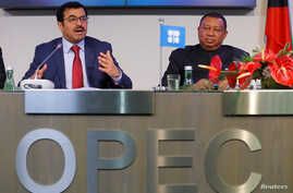 OPEC President Qatar's Energy Minister Mohammed bin Saleh al-Sada and OPEC Secretary General Mohammad Barkindo address a news conference after a meeting of the Organization of the Petroleum Exporting Countries (OPEC) in Vienna, Austria, Nov. 30, 2016