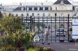 A view shows the entrance of the military Hospital Begin in Saint-Mande, eastern Paris, Sept. 19, 2014.