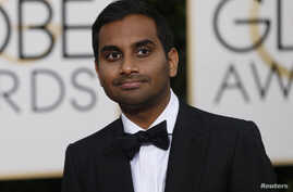 Actor Aziz Ansari arrives at the 73rd Golden Globe Awards in Beverly Hills, Calif., Jan. 10, 2016.