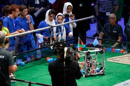 The Afghanistan girls' team competes in the FIRST Global Robotics Challenge in Washington, July 17, 2017.
