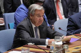 Secretary General of the United Nations Antonio Guterres addresses the Security Council at the United Nations Headquarters in New York, Aug. 29, 2018.